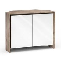 Salamander Barcelona 323 Corner Double-Width AV Cabinet in Natural Walnut / Gloss White