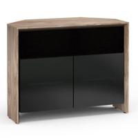 Salamander Barcelona 329 Corner Double-Width AV Cabinet in Natural Walnut / Black Glass