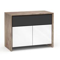 Salamander Barcelona 329 Double-Width AV Cabinet in Natural Walnut / Gloss White