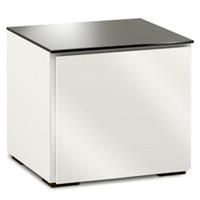 Salamander Miami 217 Single-Width AV Cabinet in Gloss White / Black Glass