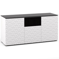 Salamander Milan 336 Triple-Width AV Cabinet in White / Black Glass