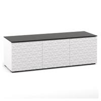 "Salamander Milan 237 64"" TV Stand AV Cabinet in White w/ 3D Geometric Pattern Doors"