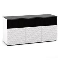 Salamander Milan 339 Triple-Width AV Cabinet in White / Black Glass