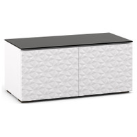 "Salamander Milan 221 44"" TV Stand AV Cabinet in White w/ 3D Geometric Pattern Doors"