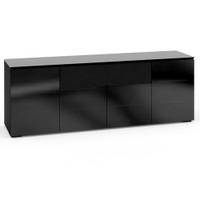 Salamander Oslo 345 Quad-Width AV Cabinet in Black Glass