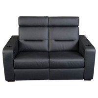Salamander AV Basics TC3 2 Seat Loveseat Black Leather Motorized Reclining Home Theater Seating