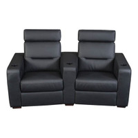 Salamander AV Basics TC3 2 Seat Curved Black Leather Motorized Reclining Home Theater Seating
