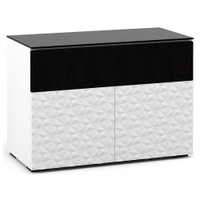 Salamander Milan 329 Double-Width AV Cabinet in White / Black Glass