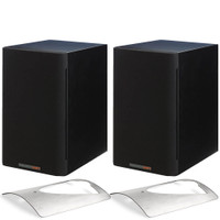 Paradigm Bundle: Shift A2 Powered Bookshelf Speakers (Storm Black Satin - Pair) and Solid Stainless Steel Stands.