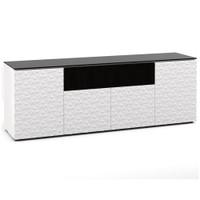 Salamander Milan 345 Quad-Width AV Cabinet in White / Black Glass