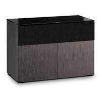 Salamander Chameleon Seattle 329 Double-Width AV Cabinet with Speaker Bay with ALPI Gray Oak Doors and Black Glass Top