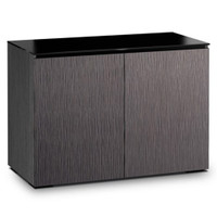 Salamander Chameleon Seattle 323 Double-Width AV Cabinet with ALPI Gray Oak Doors and Black Glass Top