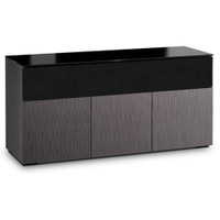 Salamander Chameleon Seattle 339 Triple-Width AV Cabinet with Speaker Bay with ALPI Gray Oak Doors and Black Glass Top