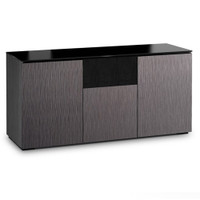 Salamander Chameleon Seattle 336 Triple-Width AV Cabinet with Speaker Bay with ALPI Gray Oak Doors and Black Glass Top