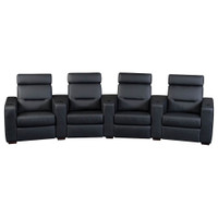 Salamander AV Basics TC3 4 Seat Curved Black Leather Motorized Reclining Home Theater Seating