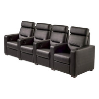 Salamander AV Basics TC3 4 Seat Black Leather Motorized Reclining Home Theater Seating