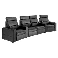 Salamander AV Basics TC3 4 Seat Curved with Center Loveseat Black Leather Motorized Reclining Home Theater Seating