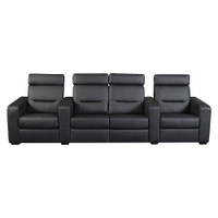 Salamander AV Basics TC3 4 Seat with Center Loveseat Black Leather Motorized Reclining Home Theater Seating