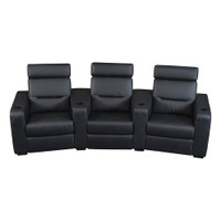 Salamander AV Basics TC3 3 Seat Curved Black Leather Motorized Reclining Home Theater Seating