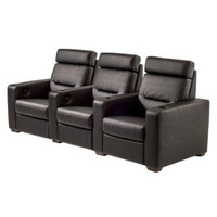 Salamander AV Basics TC3 3 Seat Black Leather Motorized Reclining Home Theater Seating