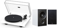Pro-Ject and PSB Bundle: Debut Carbon Evolution Audiophile Turntable in High Gloss White with Alpha AM5 Compact Powered Bookshelf Speaker in White (Pair)
