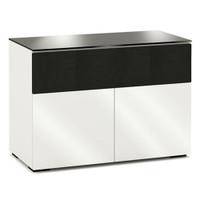 Salamander Designs Miami 329 Double Wide AV Cabinet in Gloss White / Black Glass C/MM329/GW/BK