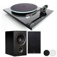 Rega and PSB Bundle: Rega and PSB Bundle: Planar 2 Turntable with RB220 Tonearm and Carbon Cartridge with PSB Alpha AM5 Compact Powered Bookshelf Speaker (Pair)