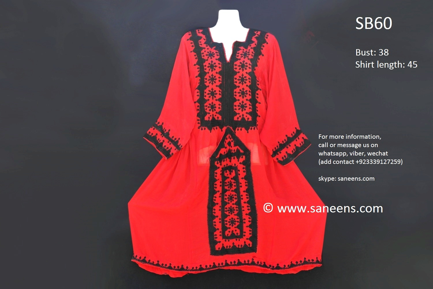 Bright Red Color Balochi Clothes With Black Needlework Embroidery