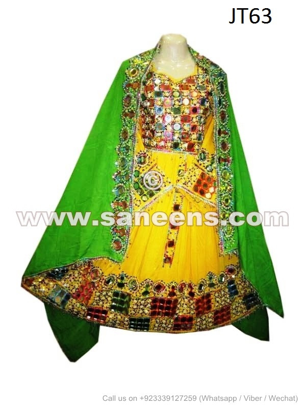 Afghan Dress With Mirror Work Green And Yellow Color Wedding Costume
