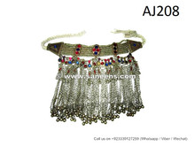 afghan kuchi necklaces with metal beads and stones