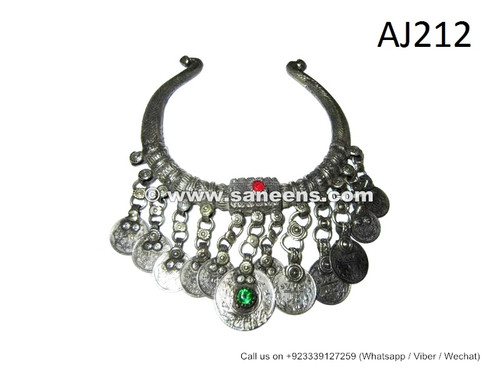 afghan kuchi necklaces chokers with coins stones