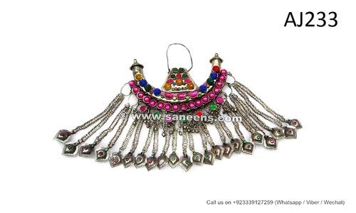 afghan kuchi necklaces, tribal fashion chokers with long chains