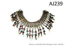 handmade tribal chokers with stones, kuchi afghan traditional jewelry