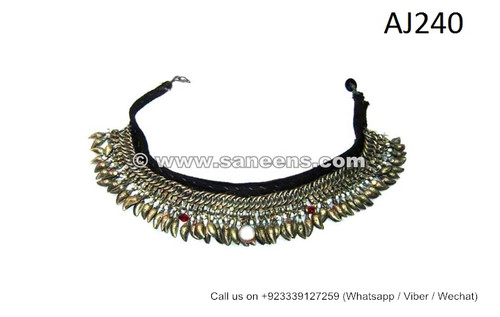 afghan kuchi necklaces chokers with almond dangles