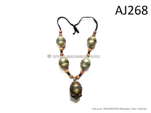 afghan tribal fashion metal beads necklace