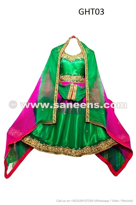Afghan Dress in green color