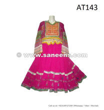 afghan kuchi tribal ethnic costumes dresses in pink color