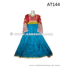afghan kuchi ethnic costumes dresses in turquoise color