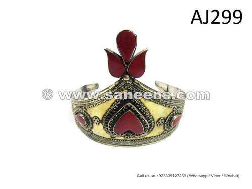 afghan kuchi tribal handmade crown with agate stone