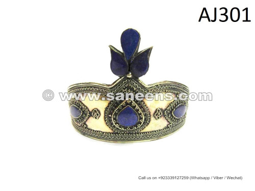 afghan kuchi tribal crown with lapis lazuli stones