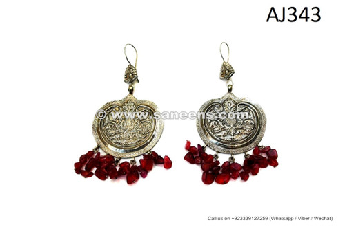 afghan kuchi earrings with red stones