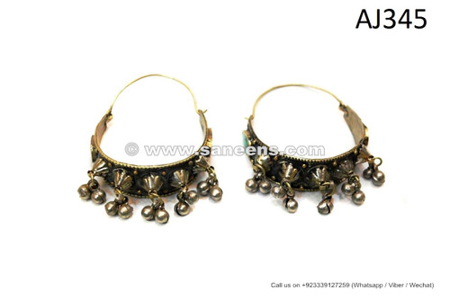 handmade afghan kuchi balochi tribal earrings with spikes bells