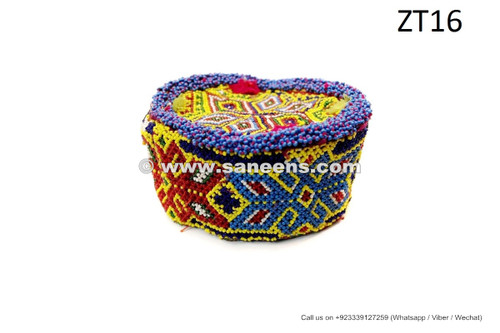 afghan kuchi tribal handmade beaded cap