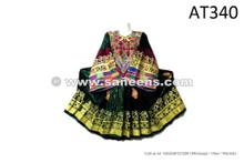 ethnic tribal pashtun artwork long dress in green color