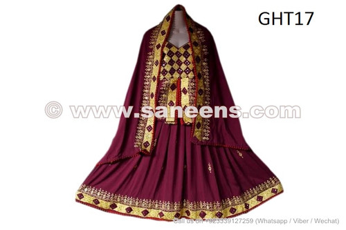 Burgundy color afghan dress