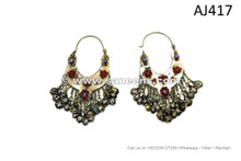 afghan kuchi long earrings