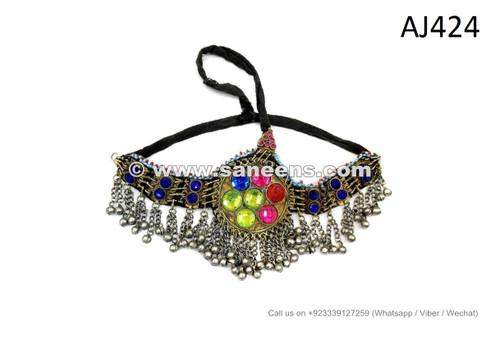 afghan kuchi headdress with colored glass gems