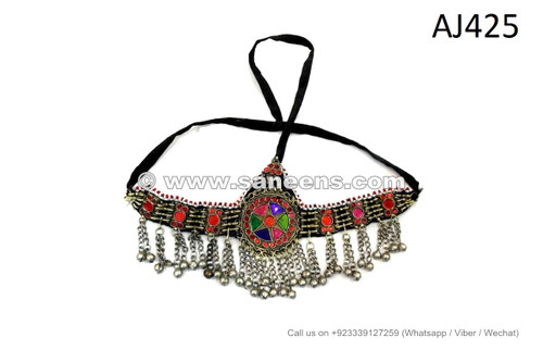 afghan kuchi headdress with inlay stones