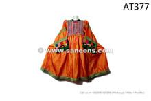 afghan kuchi tribal vintage dresses in orange color