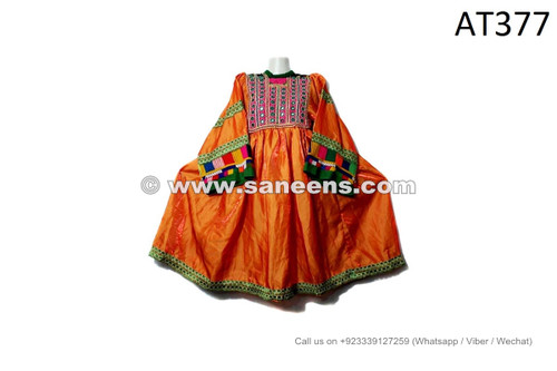 afghan kuchi tribal vintage dresses in orange color